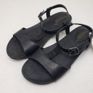Isotoner Pippa Black Open Toe Buckle Sandals